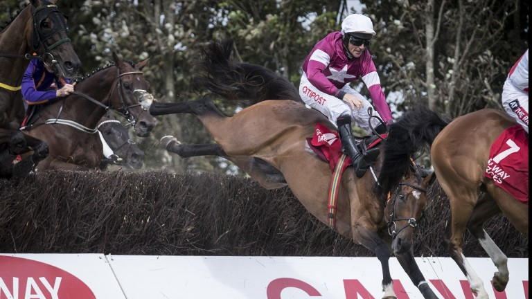 Sit tight: Davy Russell has to stay glued to the saddle as 5-4 favourite Sub Lieutenant makes a rare mistake. He recovered to run out an emphatic winner of the conditions chase