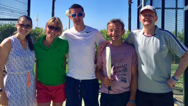 Fun in the sun: Georgie Baker, Jo Foster, George Baker, David 'Mouse' Cooper and Michael Caulfield are all smiles after a day of tennis while on the IJF beneficiaries holiday