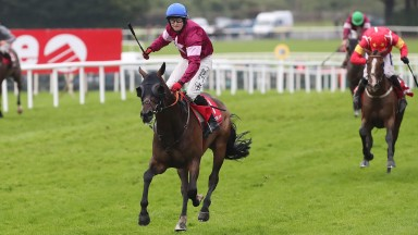 Mark Enright celebrates a famous victory as Clarcam runs away with the Tote.com Galway Plate