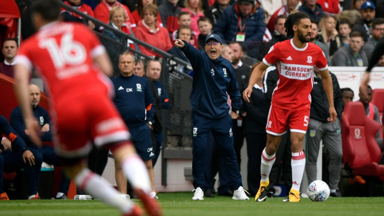 Middlesbrough manager Tony Pulis makes his point at the Riverside last season