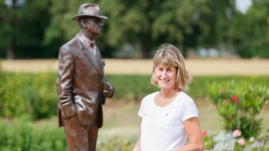 Trainer Jo Foster at Jack Berry House in North Yorkshire, where she is recovering from serious injury