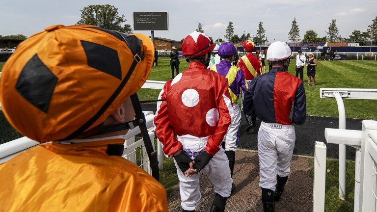 Jockeys: will be swapping silks for the lead rein at Thirsk on August 31