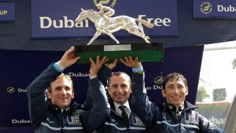 Gérald Mossé (centre) captained Europe to the 2013 Shergar Cup with Andrasch Starke (left) and Loritz Mendizabal