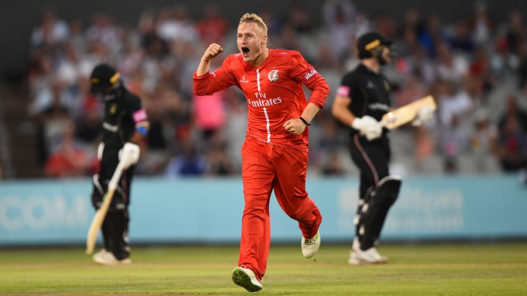 Lancashire's Matt Parkinson celebrates after taking a wicket against Leicestershire in the Blast