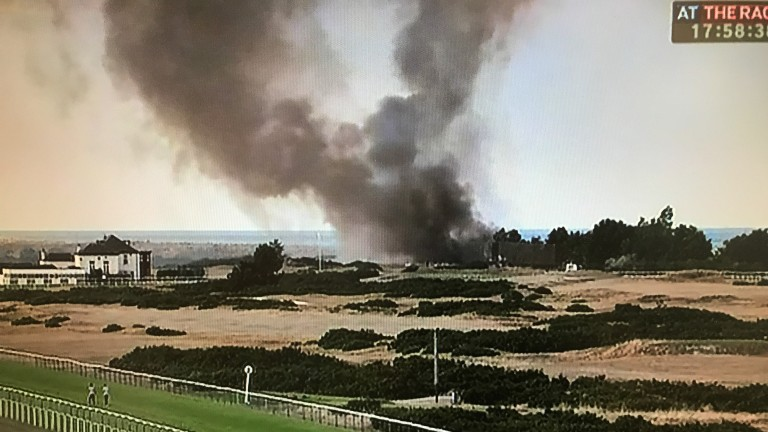 Fire on a beach next to Yarmouth Racecourse