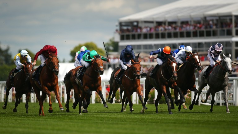 Charlie Bishop enjoys a breakthrough first Group1 success on Accidental Agent (orange cap) in Royal Ascot's Queen Anne Stakes