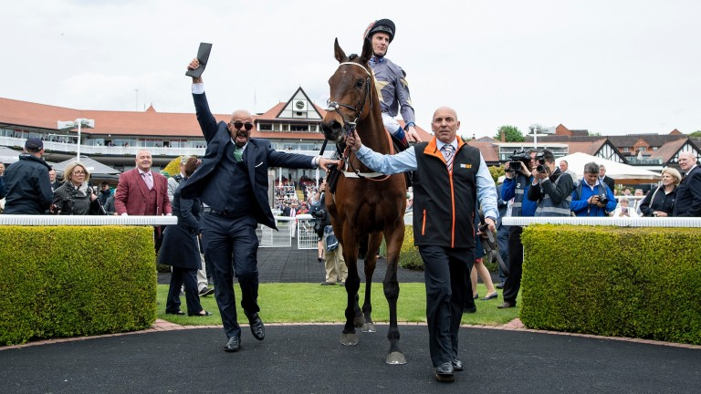 Dr Marwan Koukash (left) celebrating his fourth win in the Chester Cup with Magic Circle in May