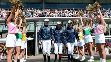 ASCOT, ENGLAND - AUGUST 06: (L-R) Pierre-Charles Boudot, Frankie Dettori and Thierry Jarnet, representing Europe, take part in The Shergar Cup opening ceremony at Ascot Racecourse on August 6, 2016 in Ascot, England. (Photo by Julian Herbert/Getty Images)