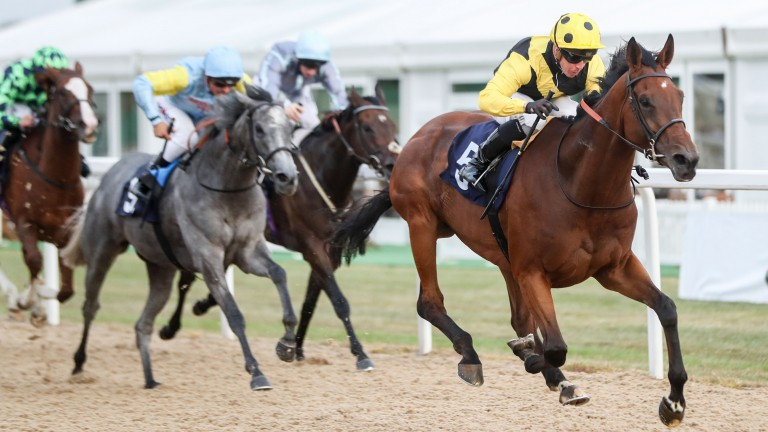 Smart Call (right) wins the Group 3 Hoppings Stakes at Newcastle