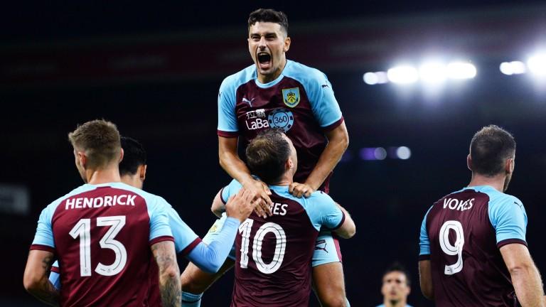 Ashley Westwood of Burnley celebrates after Ashley Barnes scores