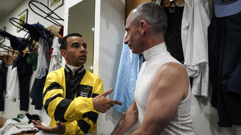 Wise words: legendary riders Joao Moreira and Gerald Mosse are deep in conversation