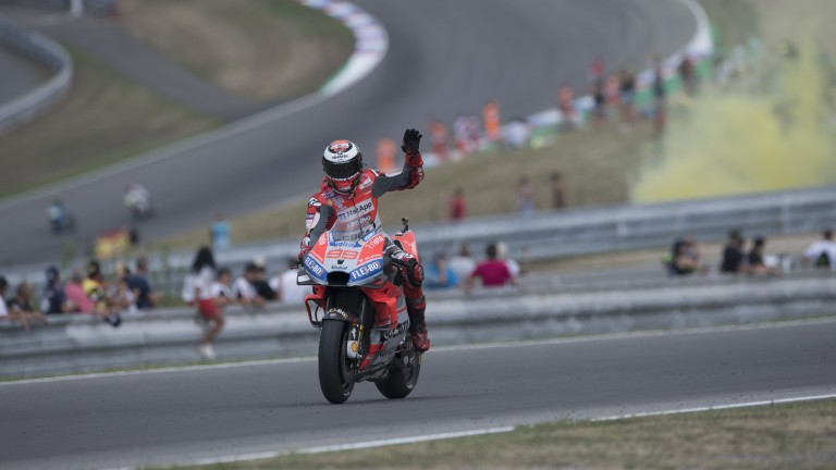 Jorge Lorenzo acknowledges the crowd after the Czech Grand Prix