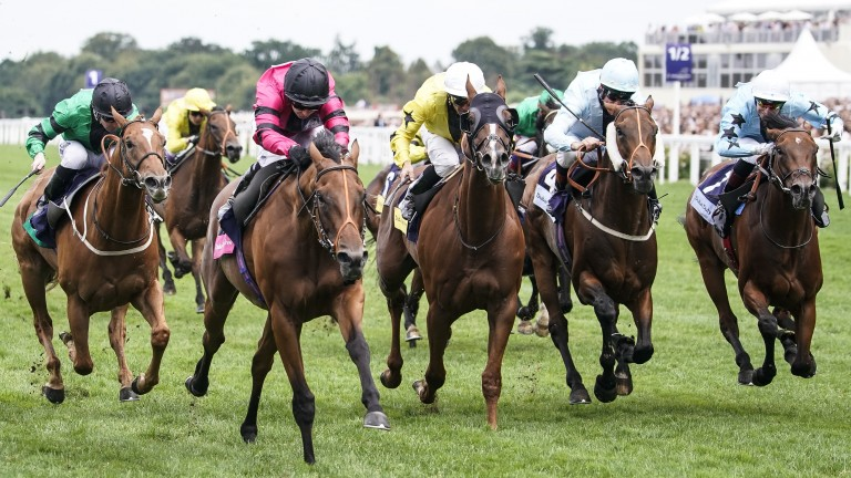 ASCOT, ENGLAND - AUGUST 11:  Hayley Turner riding Via Serendipity (L, pink) win The Dubai Duty Free Shergar Cup Mile at Ascot Racecourse on Shergar Cup Day on August 11, 2018 in Ascot, United Kingdom. (Photo by Alan Crowhurst/Getty Images)