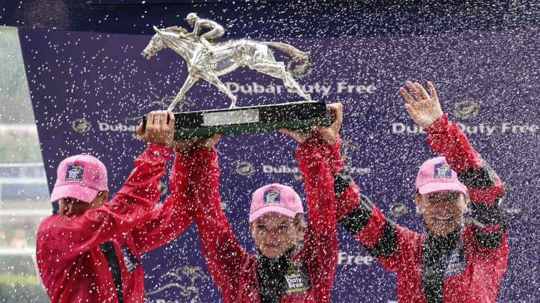 The Girls team of Josephine Gordon, Hollie Doyle and Hayley Turner celebrate Shergar Cup success