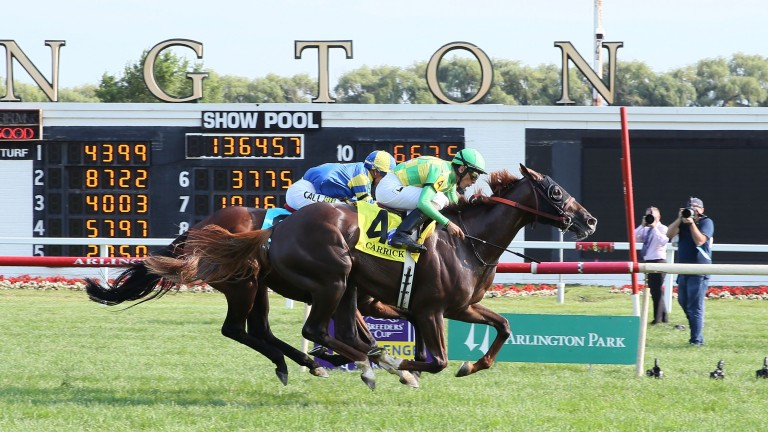Carrick (John Velazquez) outfinishes odds-on favourite Analyze It to win the Grade 1 Secretariat