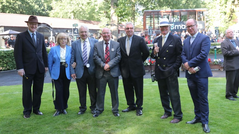 Racing gathered at Haydock to honour Mike Harbridge (centre, red tie). Those paying tribute included clerks of the course Kirkland Tellwright (far left), Charlie Moore (in panama hat) and Keith Ottesen (far right)