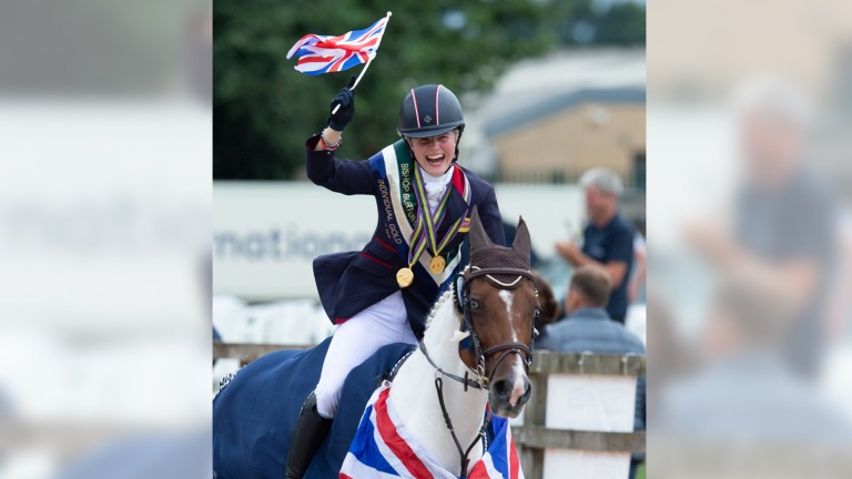 Saffie Osborne celebrates victory in the European Pony Championships