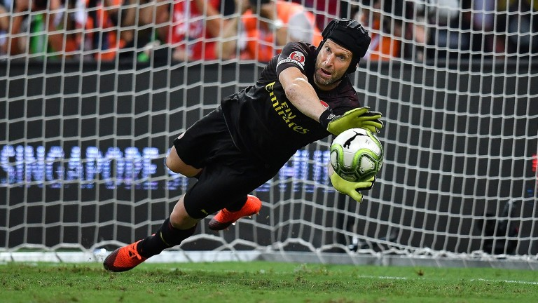 Arsenal goalkeeper Petr Cech is more comfortable using his hands than his feet