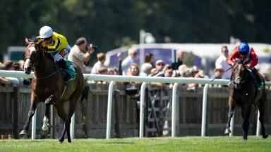 Pretty Pollyanna (Silvestre de Sousa) wins the Duchess Of Cambridge Stakes Newmarket 13.7.18 Pic: Edward Whitaker