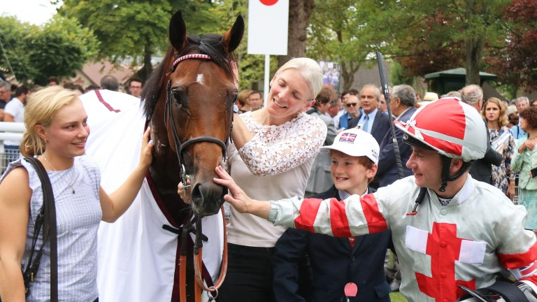 Knight To Behold is congratulated by Christina and William Dunlop after landing the Prix Guillaume d'Ornano at Deauville under Oisin Murphy