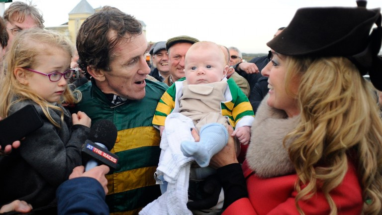 Sir Anthony McCoy celebrates his 4,000th jumps winner with his family