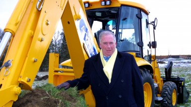 Lord Hesketh digs the first sod for the new stable complex in 2003
