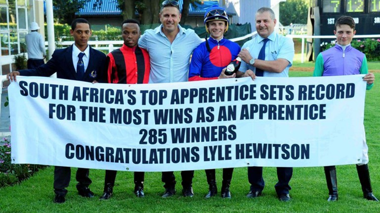 Lyle Hewitson (third right) is a record-breaker in South Africa
