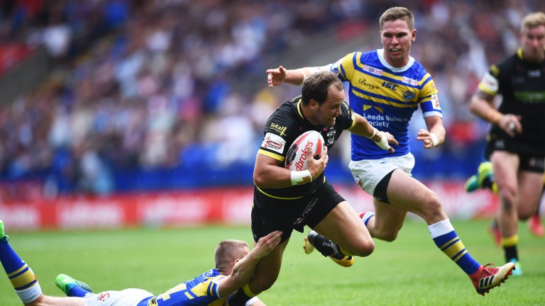 Tyrone Roberts tries to make a break for Warrington in their Challenge Cup semi-final win over Leeds