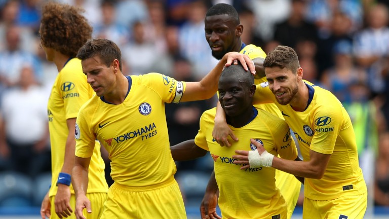 Chelsea celebrate during their 3-0 win over Huddersfield