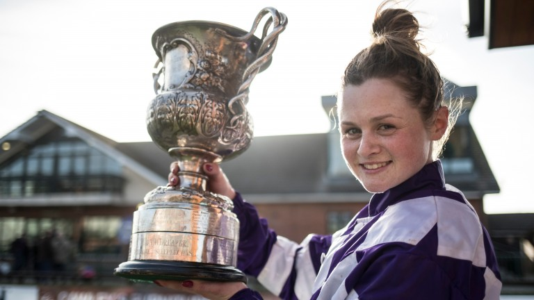 Katie O'Farrell poses with the trophy after winning the Ladies National Handicap Chase at Fairyhouse on Flemenstorm
