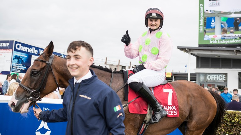 Thumbs up from Katie O'Farrell after winning the Galway Shopping Centre Handicap Hurdle on Low Sun for Willie Mullins