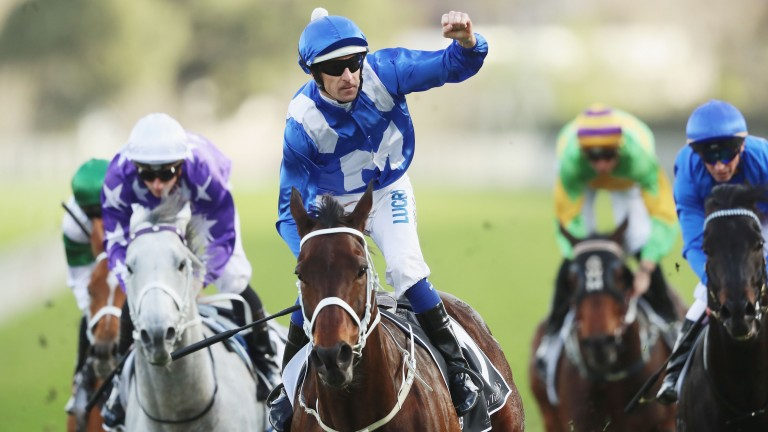 Hugh Bowman salutes the crowd as Winx triumphs yet again at Randwick (Photo by Mark Evans/Getty Images)