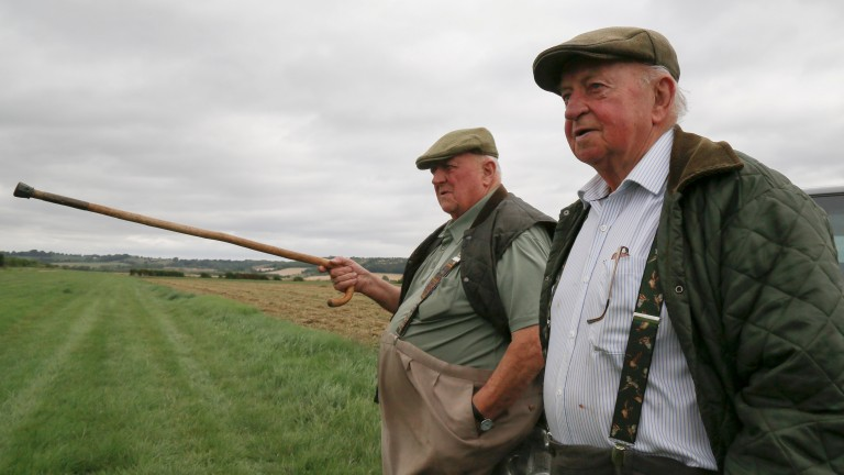 PETER EASTERBY (Flat Cap) MICK EASTERBY (Straw Trilby)New House Farm, Sherriff Hutton, York, (training Establishment of Mick Easterby)15th August 2018Pic Louise Pollard
