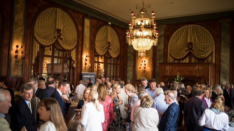 Over 250 guests from the worlds of bloodstock and racing mingle in the Royal Barriere hotel