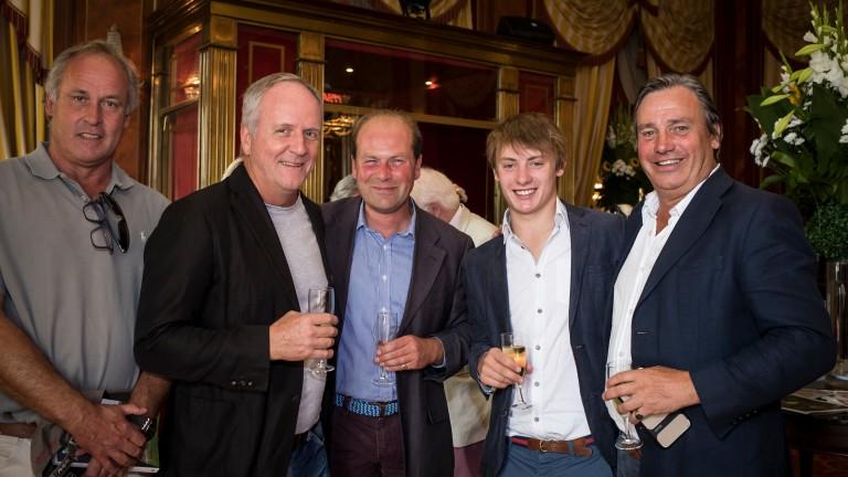 Hugo Lascelles (left), owner Bjorn Nielsen, Harry Dunlop and Simon Marsh (right) of Watership Down Stud