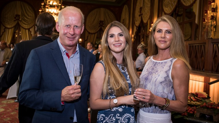 Tom Taaffe with and Alexandra and Belinda Strudwick (right) of Ballygallon Stud
