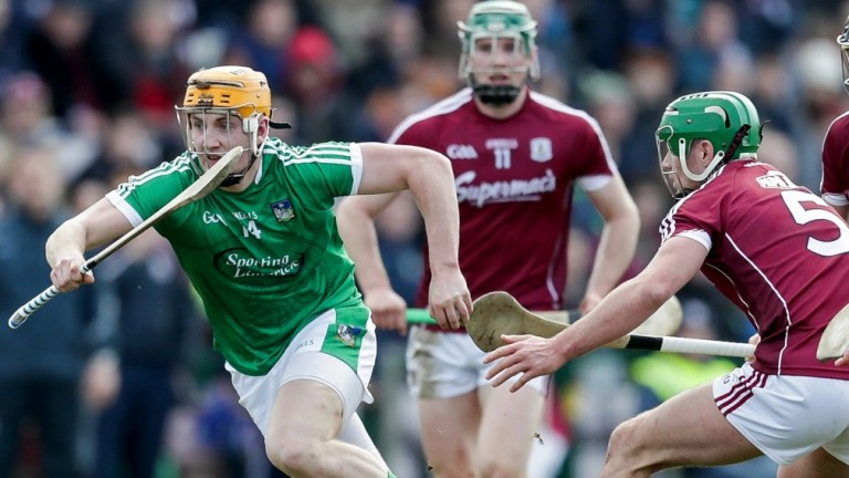 Limerick's Seamus Flanagan and Galway's Greg Lally do battle