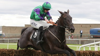 Mill Quest and Jack Kennedy jump the last en route to landing the 2m6f handicap chase at Tramore on Sunday