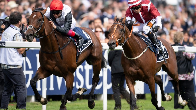 Salouen (right) just loses out to Cracksman in the Coronation Cup at Epsom in June