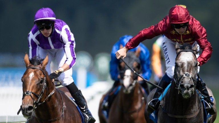 Roaring Lion (right) beats Saxon Warrior in the Coral-Eclipse