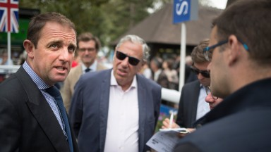 Charle Appleby after Al Hilalee's win at Deauville on Saturday. The trainer has four winners from nine runners at the track this summer.