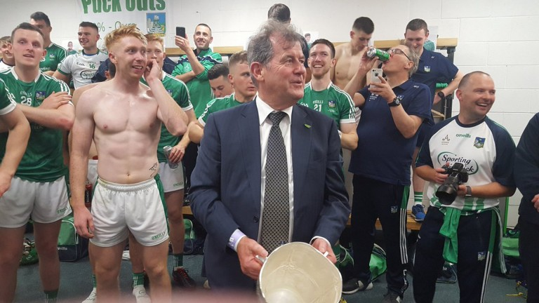 JP McManus returns to the Limerick dressing room after their All Ireland Hurling Final victory over Galway