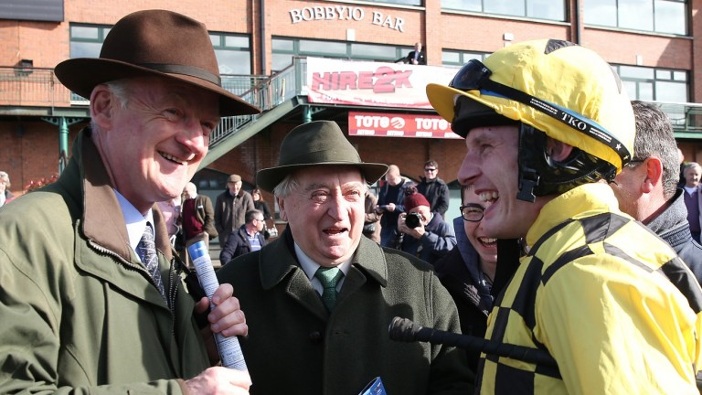 Mick O'Toole with trainer Willie Mullins and jockey Paul Townend after Al Boum Photo's win at last year's Fairyhouse Easter festival
