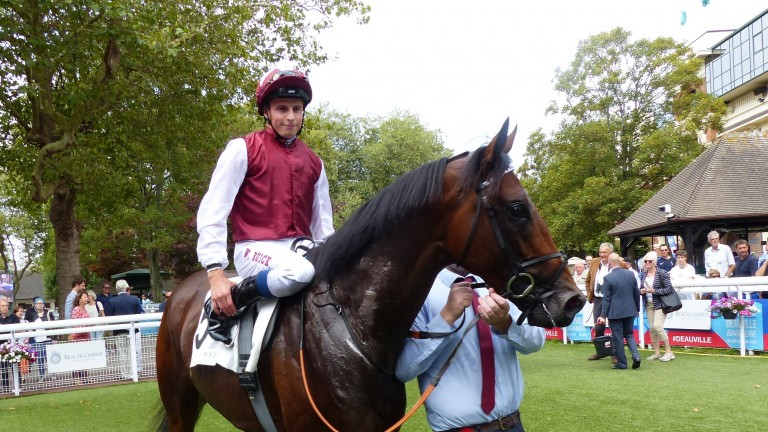 Glorious Journey and William Buick return to the Deauville winners' enclosure after winning the G3 Prix Daphnis