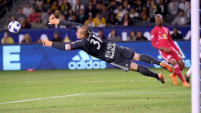 Luis Robles of New York Red Bulls makes a diving save
