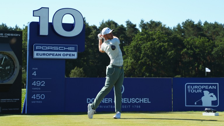 Oliver Fisher tees off at the Porsche European Open in Hamburg, Germany
