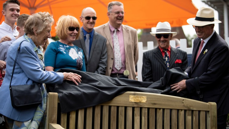 Shirley Russell and Lord Grimthorpe unveil the memorial bench