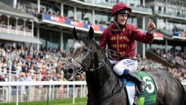 Celebration time: Oisin Murphy gives the thumbs-up after Roaring Lion's decisive win