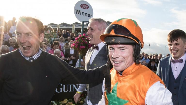 Denis O'Regan after winning the Galway Blazers aboard Snugsborough Benny