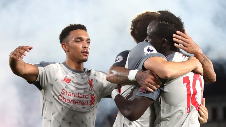Liverpool celebrate Sadio Mane's goal in the 2-0 win at Crystal Palace